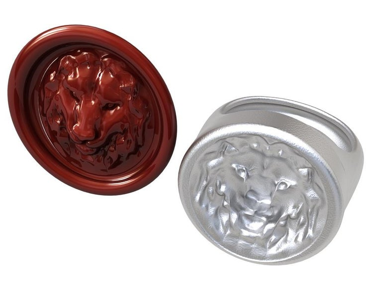 For Sale: undefined Sterling Silver Leo Lion Signet Wax Seal Ring 3