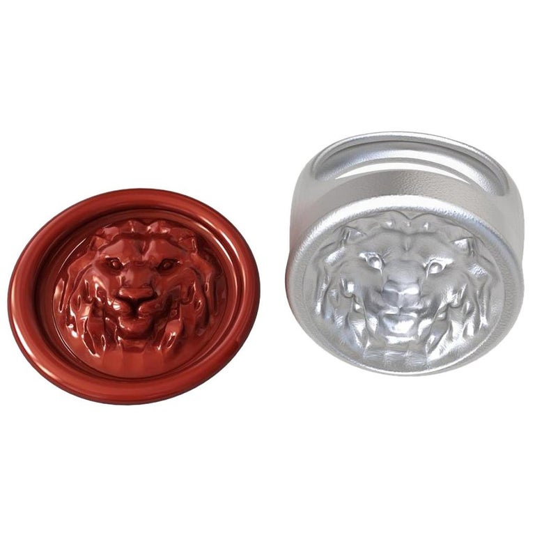 For Sale: undefined Sterling Silver Leo Lion Signet Wax Seal Ring