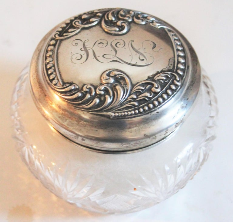 Sterling Silver Lided Powder Jars Collection of Five For Sale 3