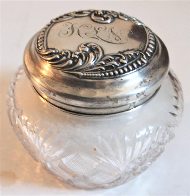 Sterling Silver Lided Powder Jars Collection of Five For Sale 4