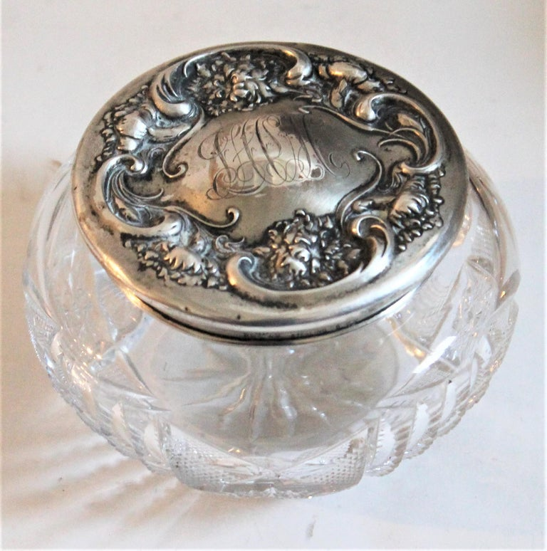 Sterling Silver Lided Powder Jars Collection of Five For Sale 5