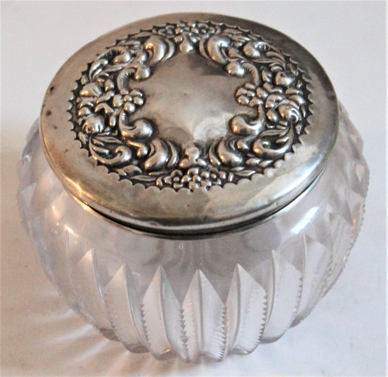 Metalwork Sterling Silver Lided Powder Jars Collection of Five For Sale