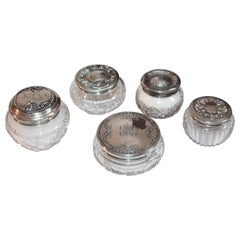 Sterling Silver Lided Powder Jars Collection of Five