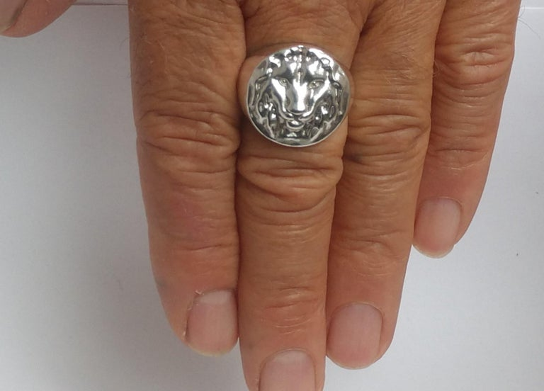 Contemporary Sterling Silver Lion of Judah Signet Ring For Sale