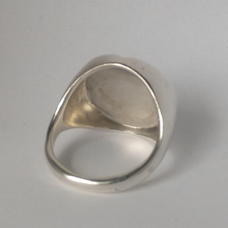 Women's or Men's Sterling Silver Lion of Judah Signet Ring For Sale