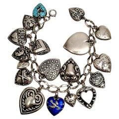 Sterling Silver Loaded Puffy Heart Charm Bracelet