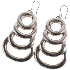 Sterling Silver Long Light Statement Earrings