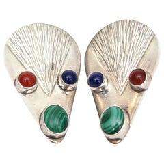 Sterling Silver, Malachite, Carnelian & Blue Lace Agate Clip On Earrings