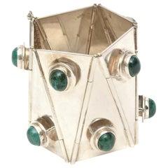 Sterling Silver & Malachite Sculptural Cuff Bracelet Vintage One Of A Kind