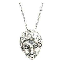 Sterling Silver Man's Face Necklace
