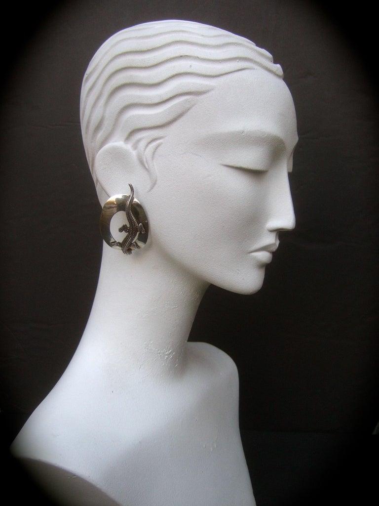 Sterling Silver Massive Figural Lizard Artisan Pierced Earrings c 1990 For Sale 6