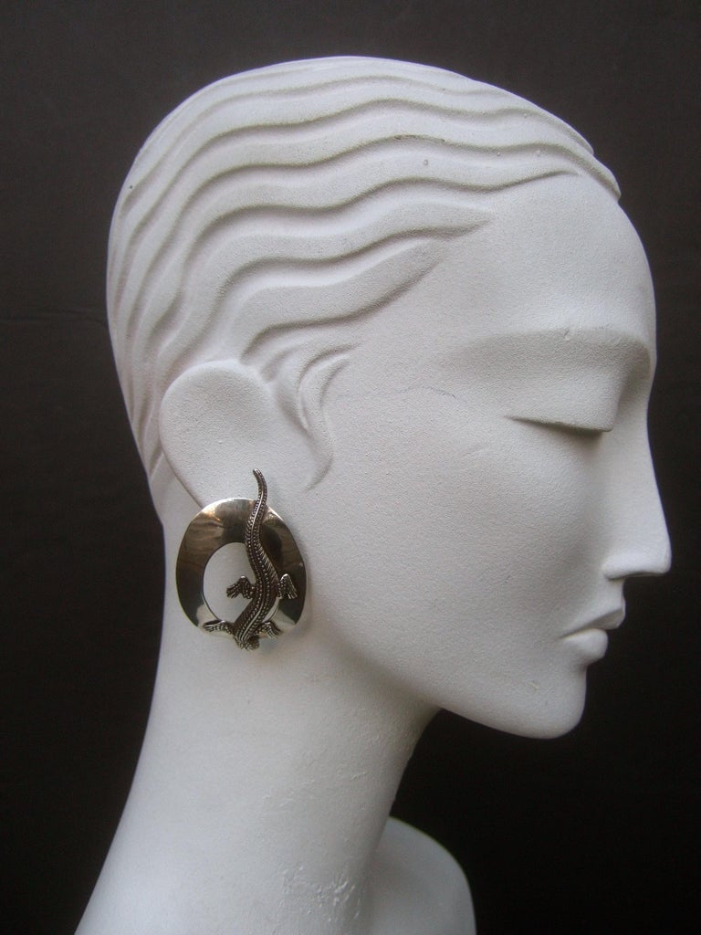 Sterling Silver Massive Figural Lizard Artisan Pierced Earrings c 1990 For Sale 7