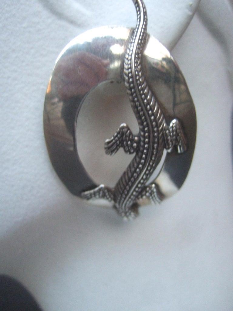 Sterling Silver Massive Figural Lizard Artisan Pierced Earrings c 1990 For Sale 8