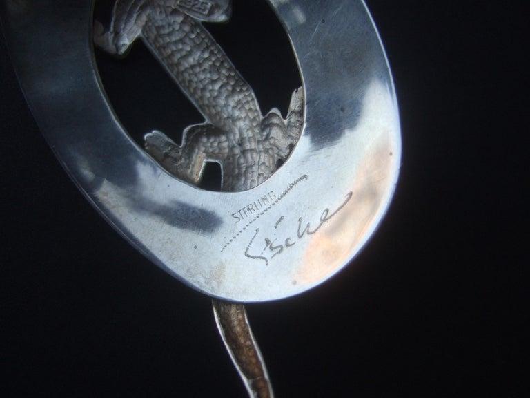 Sterling Silver Massive Figural Lizard Artisan Pierced Earrings c 1990 For Sale 11