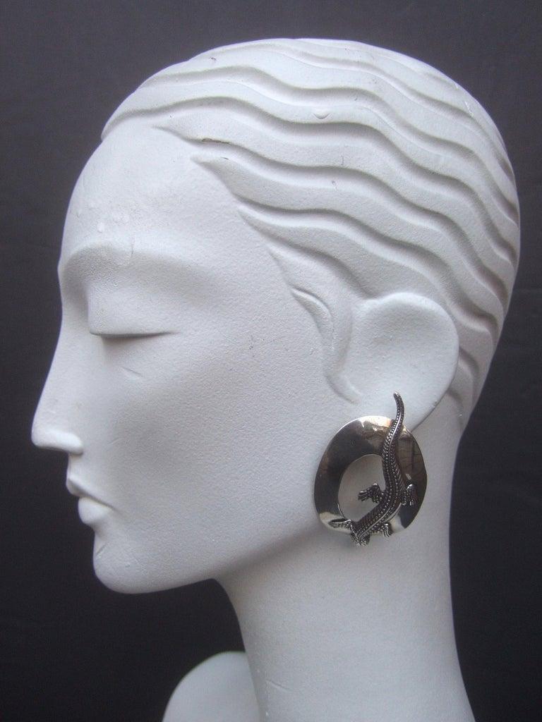 Sterling Silver Massive Figural Lizard Artisan Pierced Earrings c 1990 For Sale 12