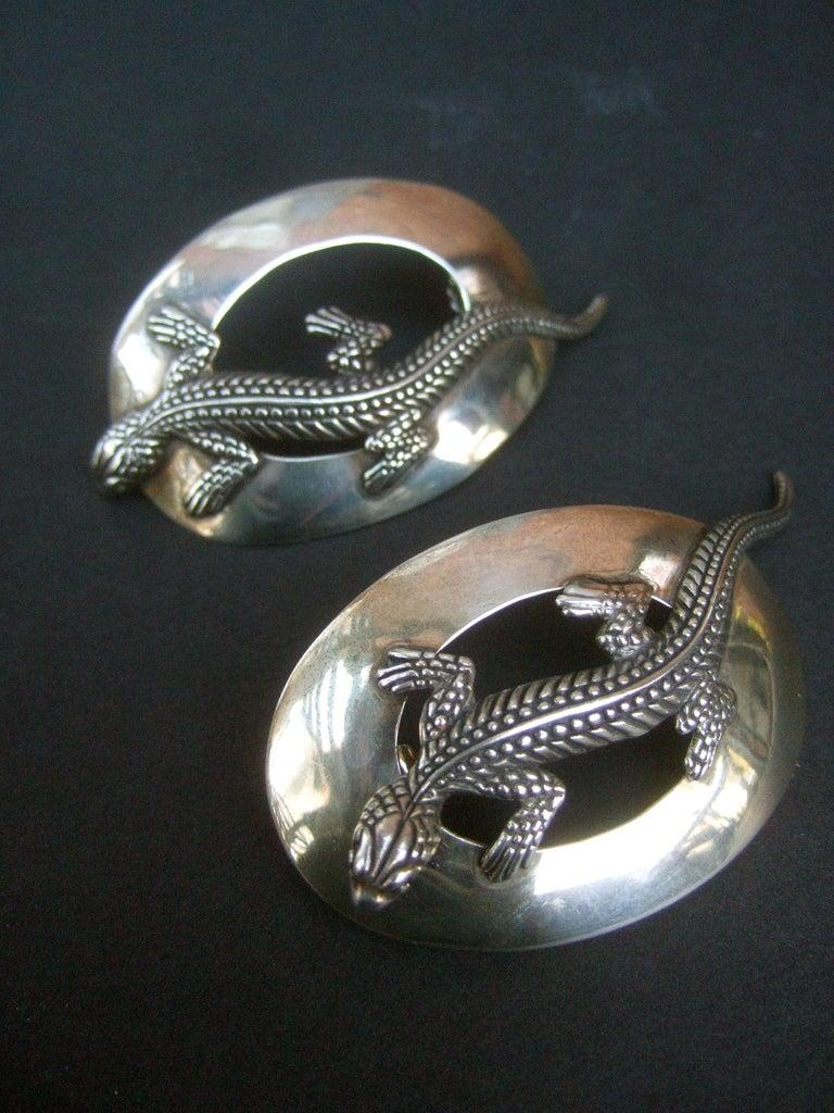 Sterling Silver Massive Figural Lizard Artisan Pierced Earrings c 1990 For Sale 13