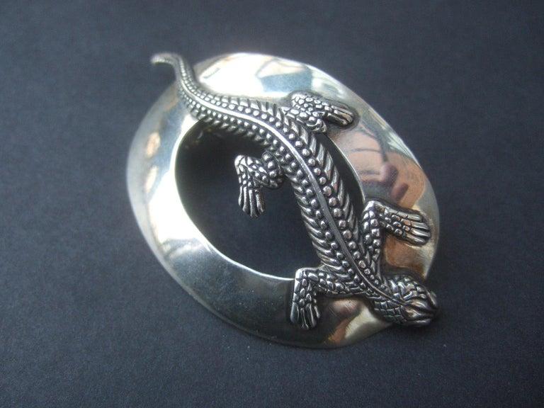 Sterling Silver Massive Figural Lizard Artisan Pierced Earrings c 1990 For Sale 14
