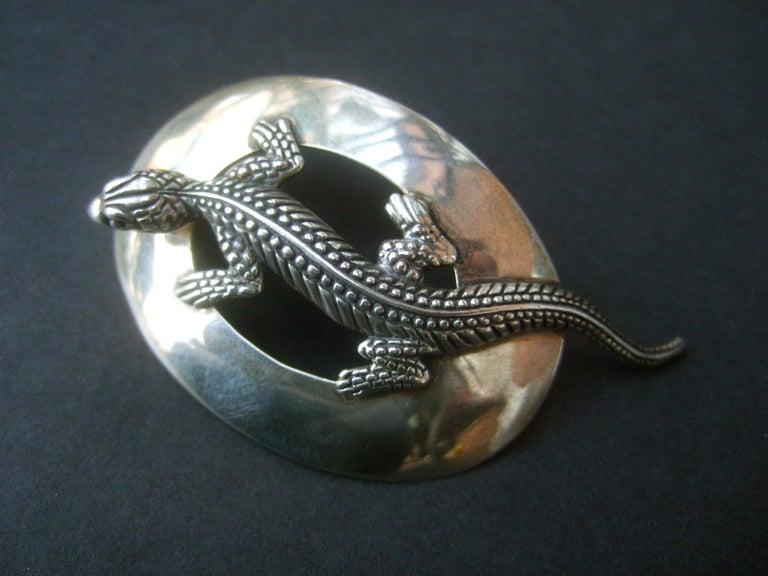 Sterling Silver Massive Figural Lizard Artisan Pierced Earrings c 1990 For Sale 15