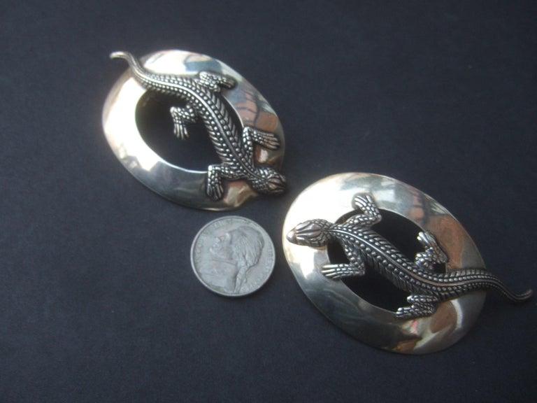 Sterling Silver Massive Figural Lizard Artisan Pierced Earrings c 1990 For Sale 16