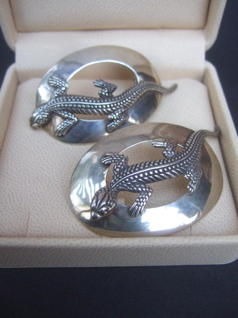 Women's Sterling Silver Massive Figural Lizard Artisan Pierced Earrings c 1990 For Sale