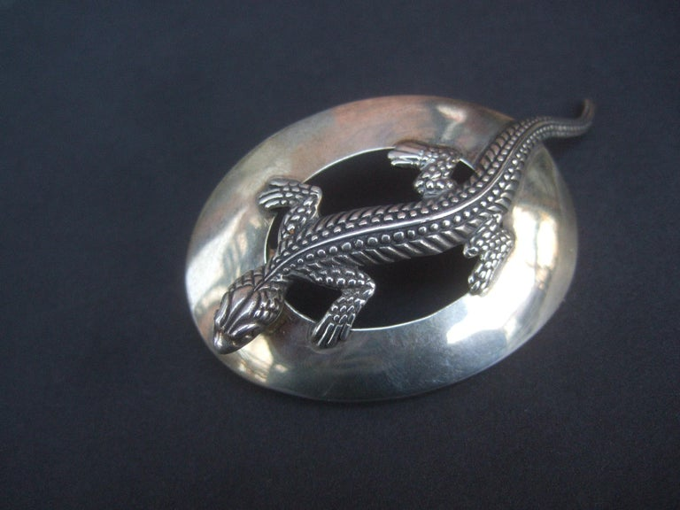 Sterling Silver Massive Figural Lizard Artisan Pierced Earrings c 1990 For Sale 1
