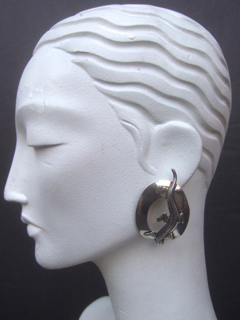 Sterling Silver Massive Figural Lizard Artisan Pierced Earrings c 1990 For Sale 2