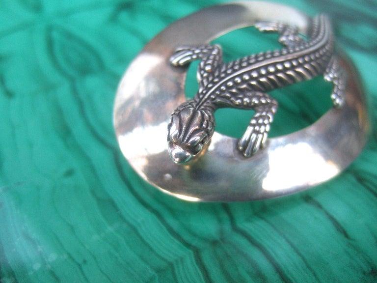 Sterling Silver Massive Figural Lizard Artisan Pierced Earrings c 1990 For Sale 4