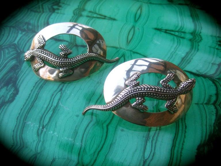 Sterling Silver Massive Figural Lizard Artisan Pierced Earrings c 1990 For Sale 5