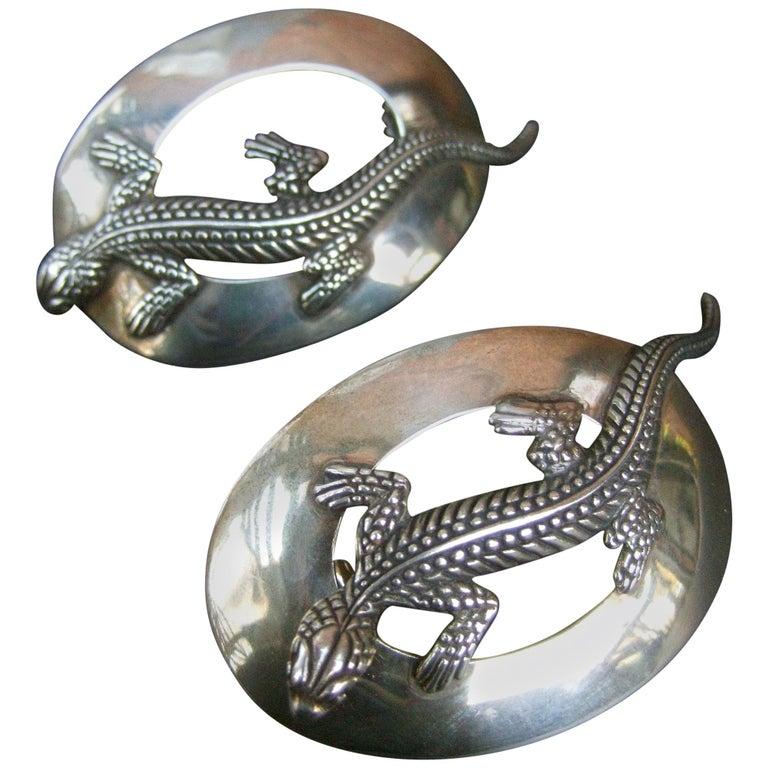 Sterling Silver Massive Figural Lizard Artisan Pierced Earrings c 1990 For Sale