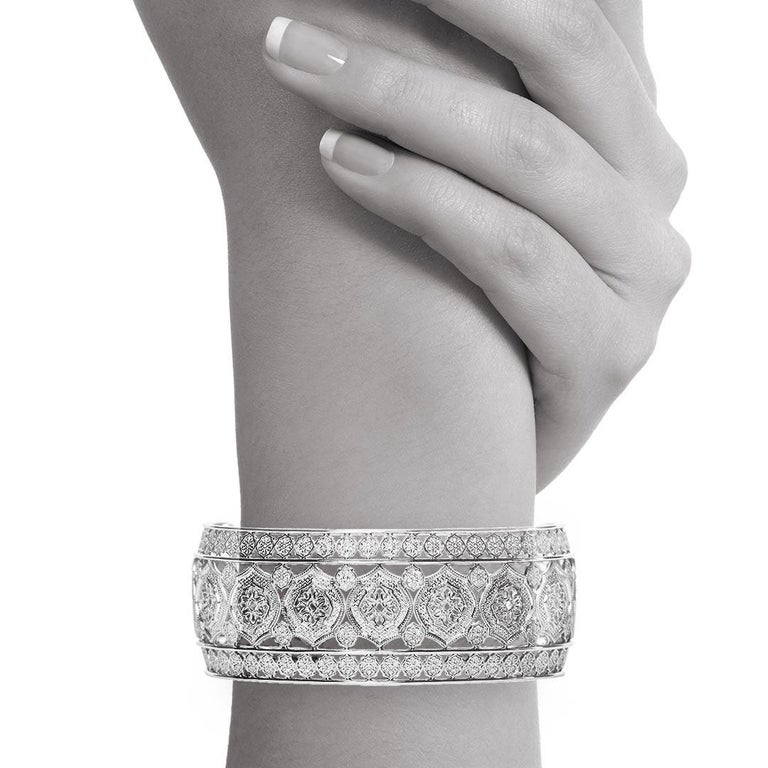 Part of the brand new 'Mauresque' collection by Natalie Barney, this cuff bracelet is unique whilst being comfortable. Wear it to a special event or every day.  Made in Sterling Silver.  Please request the video for an even closer view of this