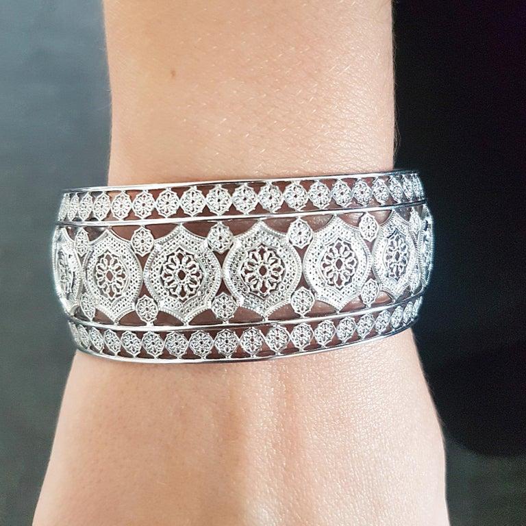 Women's or Men's Sterling Silver Mauresque Cuff Bracelet Natalie Barney For Sale