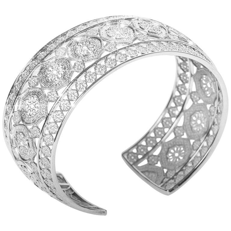 Sterling Silver Mauresque Cuff Bracelet Natalie Barney For Sale