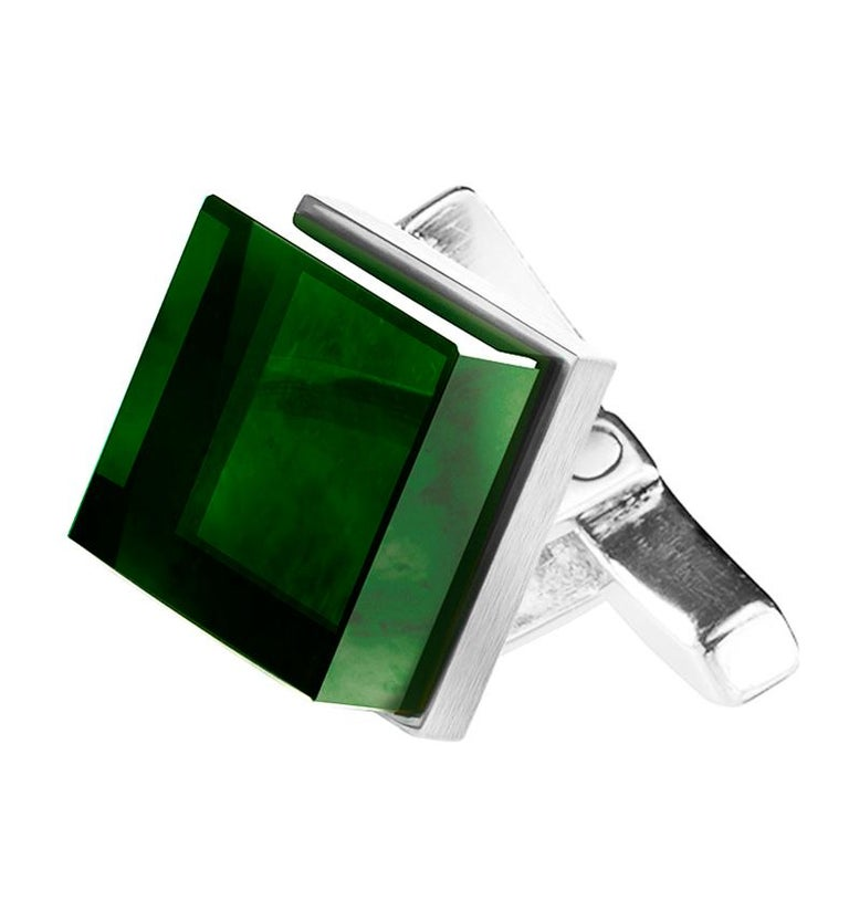 Sterling Silver Men Art Deco Style Cufflinks by the Artist with Green Quartzes In New Condition For Sale In Berlin, DE