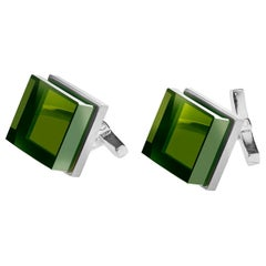 Sterling Silver Men Art Deco Style Cufflinks by the Artist with Green Quartzes