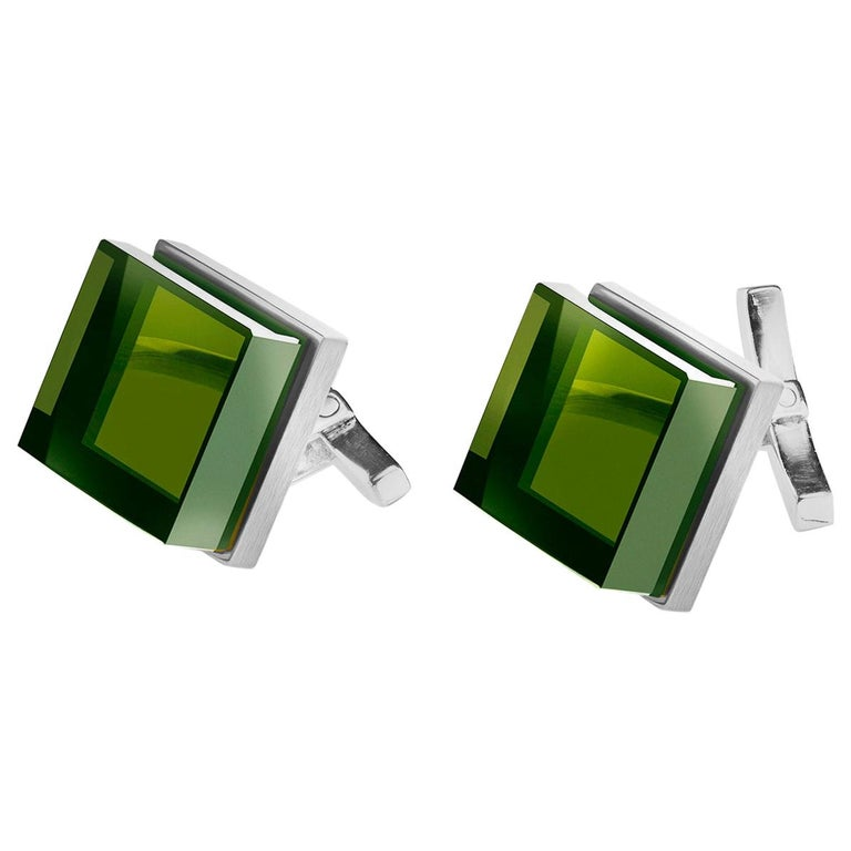 Sterling Silver Men Art Deco Style Cufflinks by the Artist with Green Quartzes For Sale