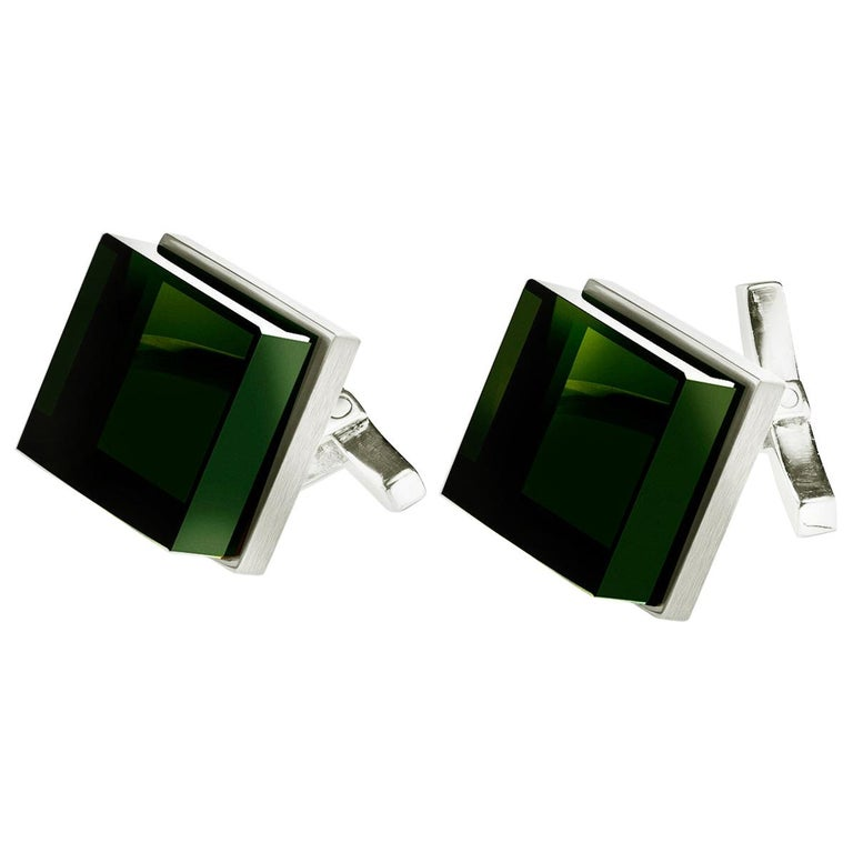 Sterling Silver Men's Art Deco Style Cufflinks by the Artist with Green Quartzes For Sale