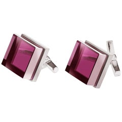 Sterling Silver Men's Art Deco Style Cufflinks with Lab Grown Rubies