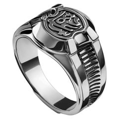 "Sterling Silver Men's ""Happiness"" Calligraphy Signet Ring"