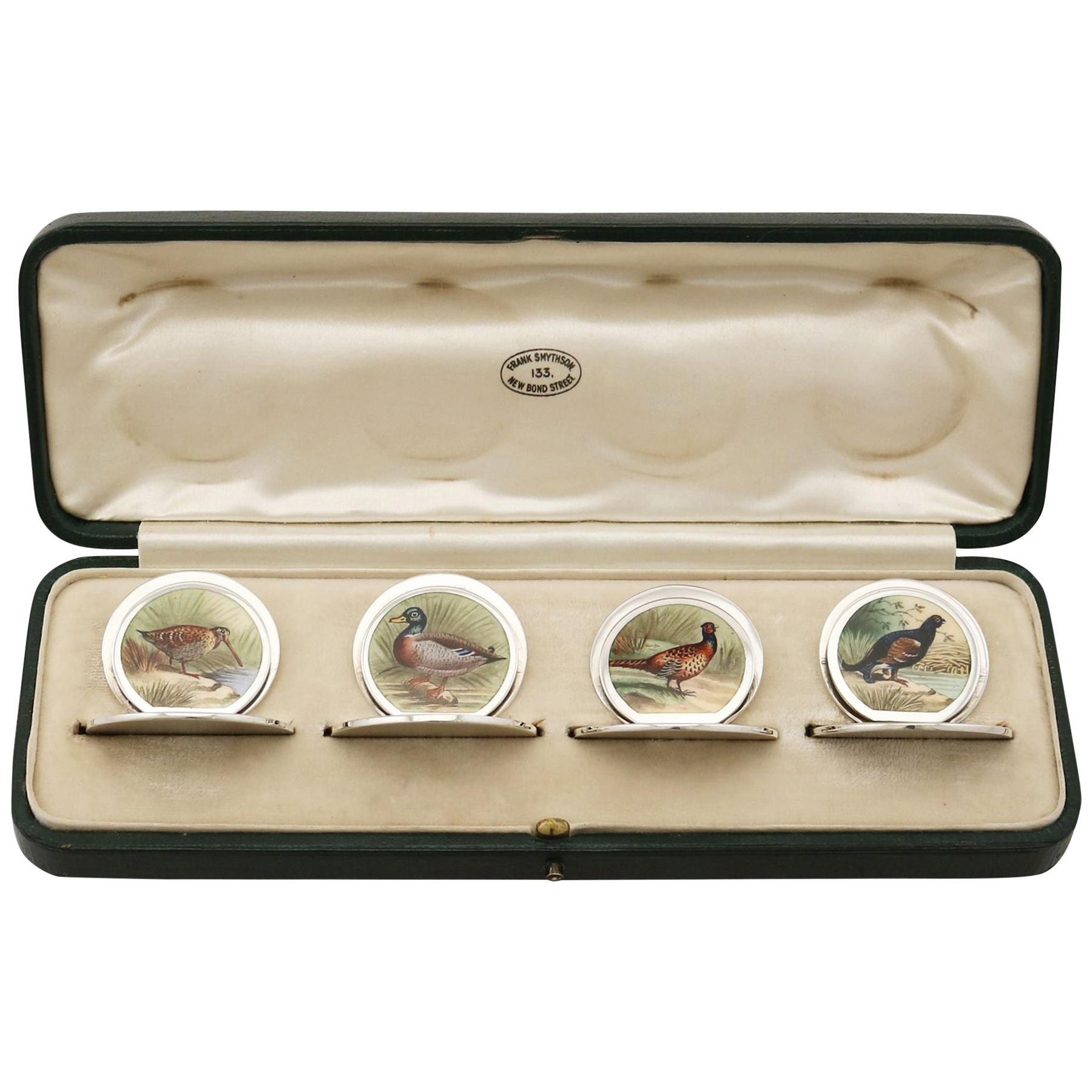 Sterling Silver Menu or Card Holders, Antique Edwardian, '1904'