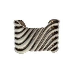 Sterling Silver Mexican Dulce Wave Design Cuff Bracelet