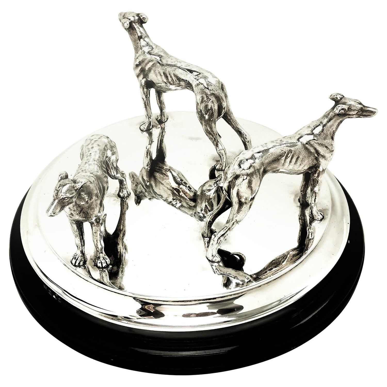 Sterling Silver Model Greyhounds on Plinth 1937 Greyhound Dogs Figures