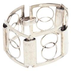 Sterling Silver Modernist Geometric Link Cuff Bracelet Italian