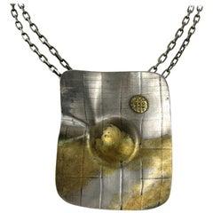 Sterling Silver Modernist Necklace Gold Wash Handmade Pendant