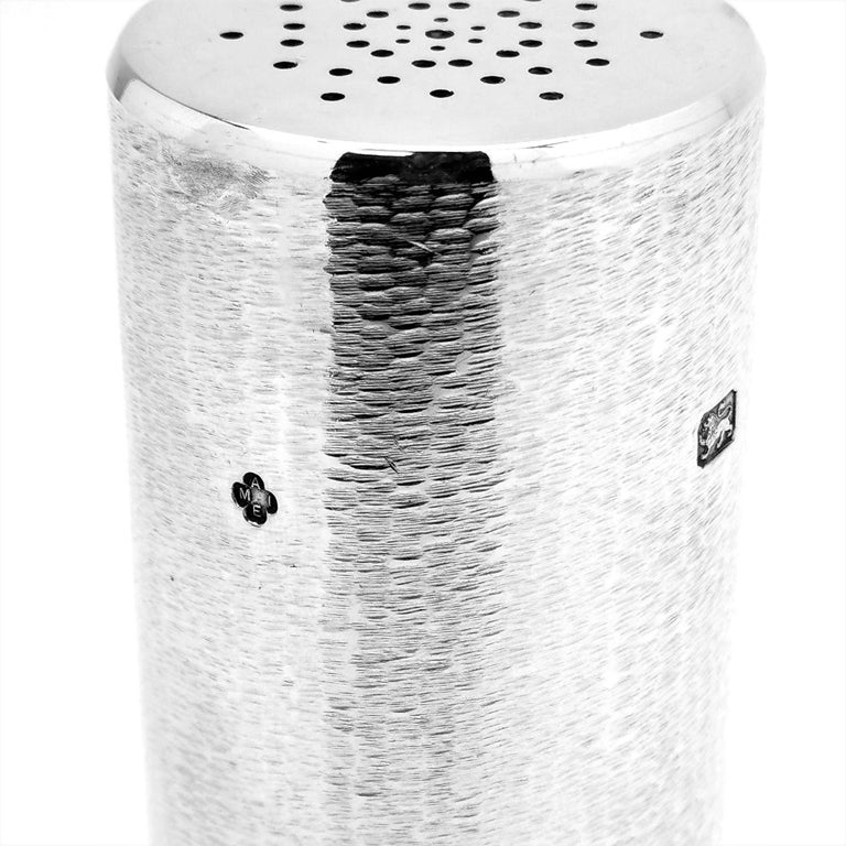 Sterling Silver Modernist Salt / Pepper Shaker / Caster, 1981 For Sale 2