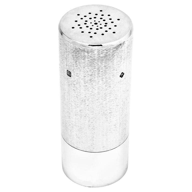 Sterling Silver Modernist Salt / Pepper Shaker / Caster, 1981 For Sale