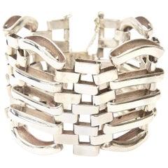 Sterling Silver Modernist Sculptural Link Cuff Bracelet Hallmarked Vintage