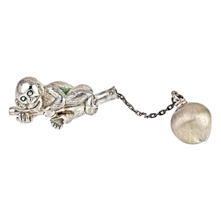 Sterling Silver Monkey Keychain by John Landrum Bryant For Sale