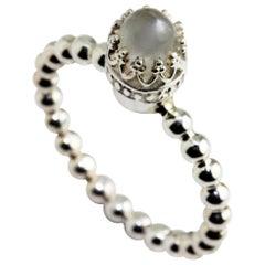 Sterling Silver Moonstone Bullet Crown Ring