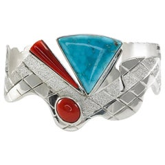 Sterling Silver Morenci Turquoise Coral Snake Cuff, 3-Stone