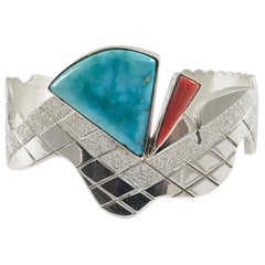 Sterling Silver Morenci Turquoise Snake Cuff, 2 Stone